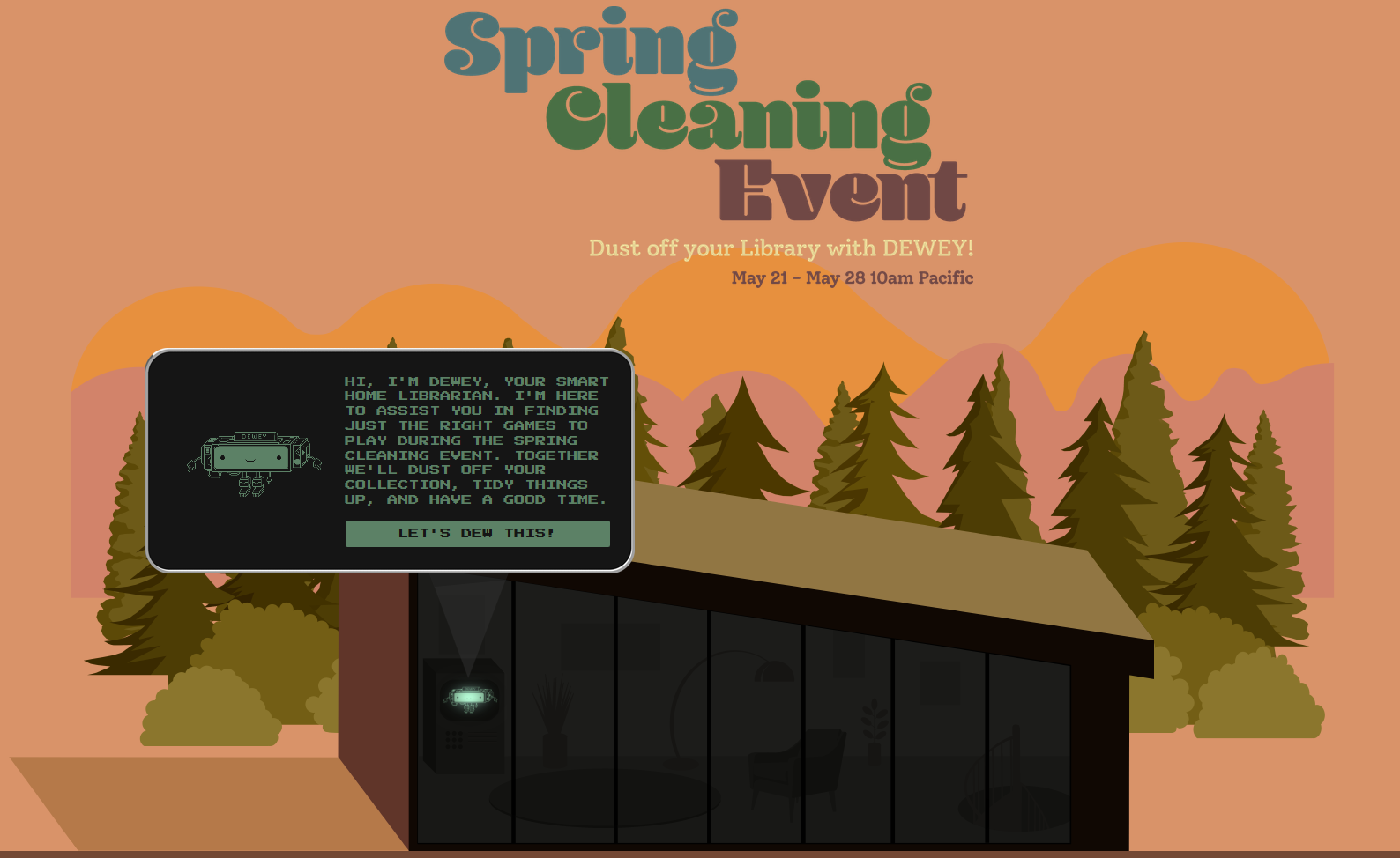 An ad for Dewey and spring clean up on Steam.