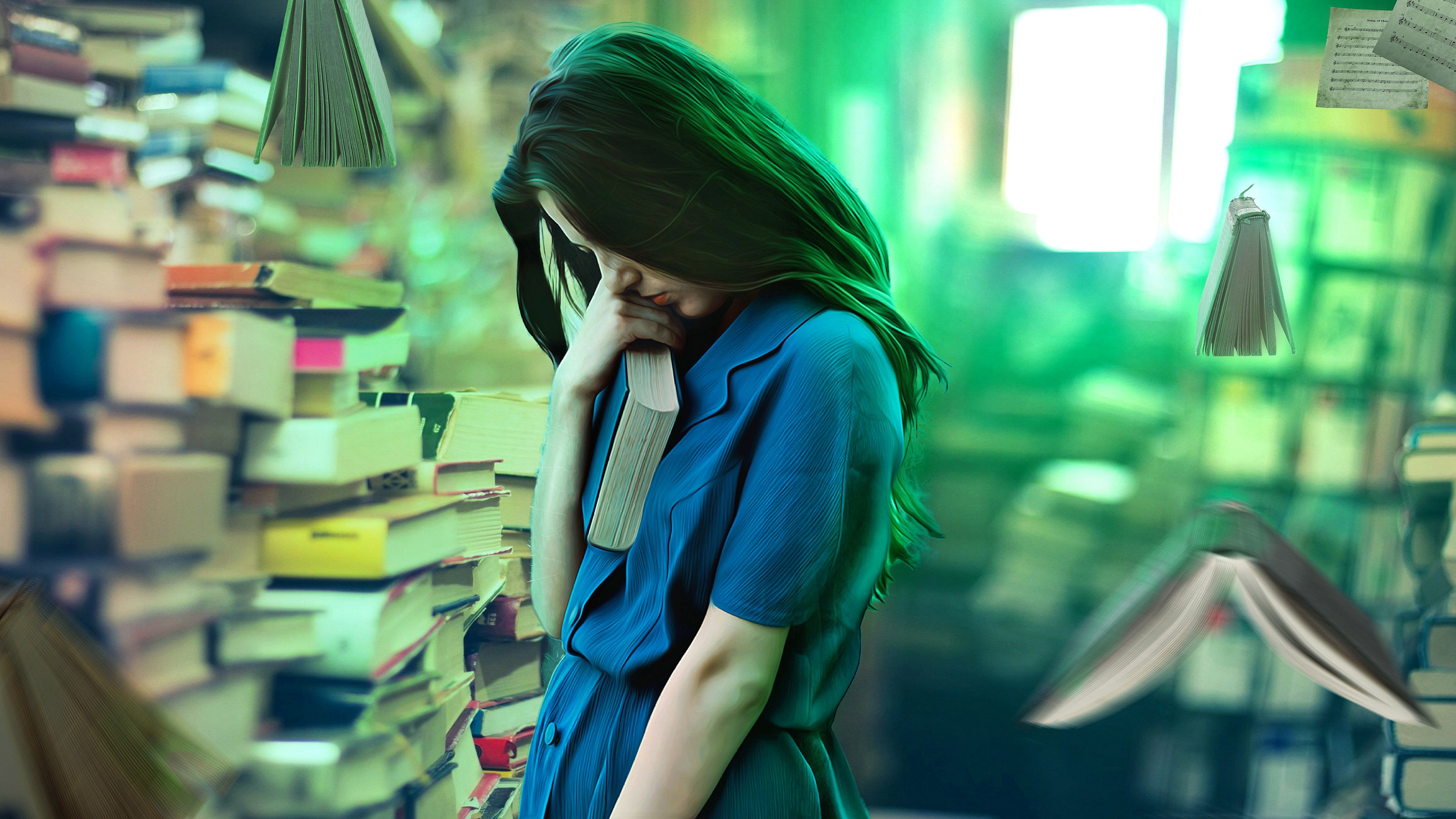 A lonely girl hugs her book in a bookstore as other books fly around her like birds.