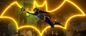 A scene from the Gotham Knights trailer - Batgirl swinging through the city with the bat logo behind her