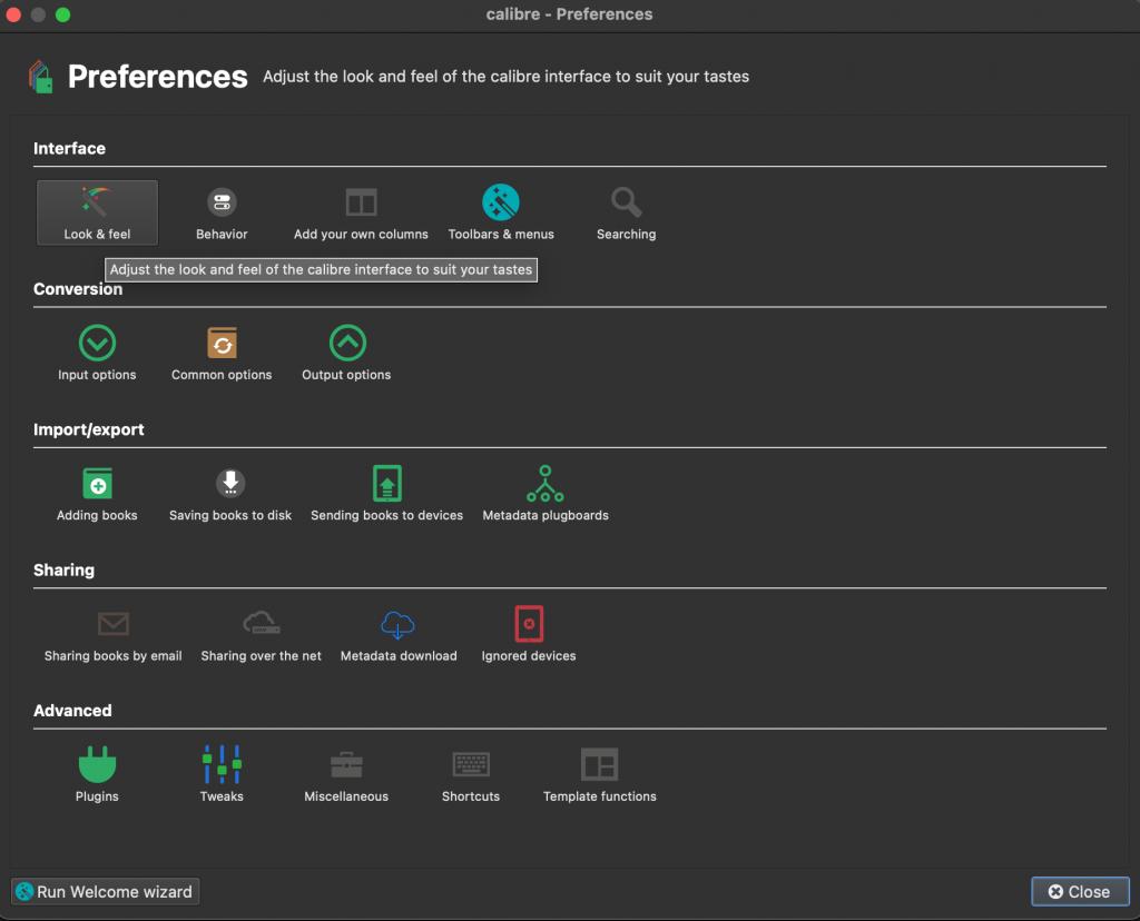 The Calibre preferences screen