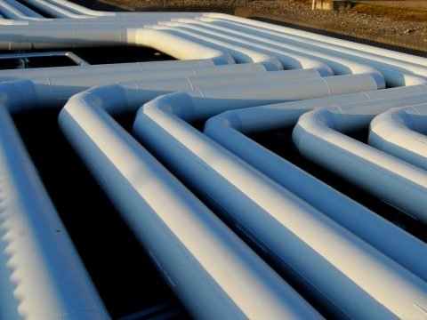 Large pipes twisting through the landscape.